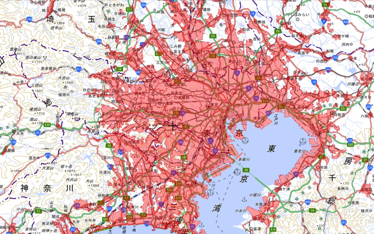 東京都がほとんど人口密集地区